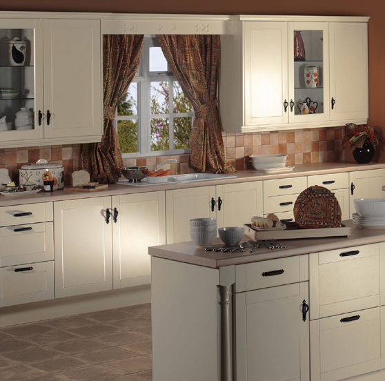 Ivory Vinyl Shaker Kitchen In A Traditional Kitchen Design