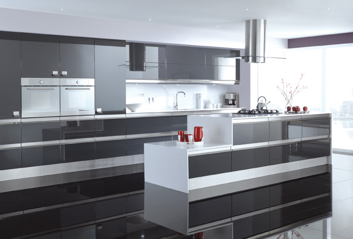 Gloss Kitchens Various Colours - Dark grey gloss kitchen